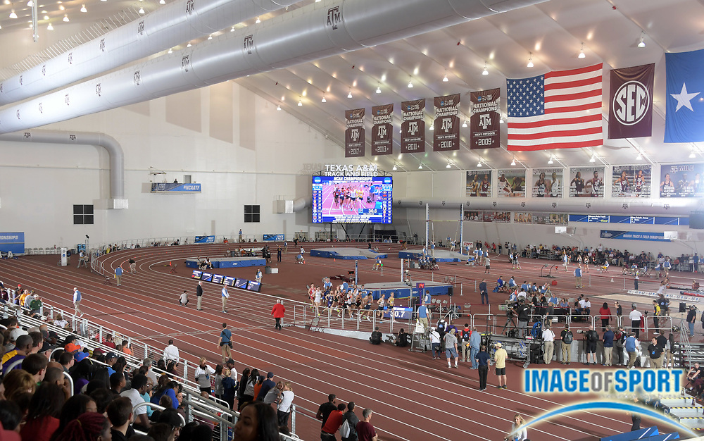 Mar 10, 2018; College Station, TX, USA; General overall view of the NCAA Indoor Track and Field Championships at the Gilliam Indoor Track at the McFerrin Athletic Center.