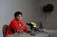 Cardiff city player Fabio da Silva speaks to the media at the Cardiff city fc press conference at the Vale resort hotel in Hensol, near Cardiff, South Wales on Friday 28th March 2014. the pc is a pre Barclays premier league looking ahead to West Brom match tomorrow.<br /> pic by Andrew Orchard, Andrew Orchard sports photography.