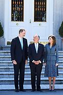 King Felipe VI of Spain, Queen Letizia of Spain, Marcelo Rebelo de Sousa, President of Portugal attended an official lunch at Palacio de la Zarzuela on April 16, 2018 in Madrid, Spain