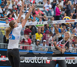 30.07.2015, Strandbad, Klagenfurt, AUT, A1 Beachvolleyball EM 2015, im Bild voren Ekaterina Birlova (geb. Khomyakov) 1 RUS / Evgenia Ukolova 2 RUS, hinten Stefanie Schwaiger 1 AUT // during of the A1 Beachvolleyball European Championship at the Strandbad Klagenfurt, Austria on 2015/07/30. EXPA Pictures © 2015, EXPA Pictures © 2015, PhotoCredit: EXPA/ Mag. Gert Steinthaler