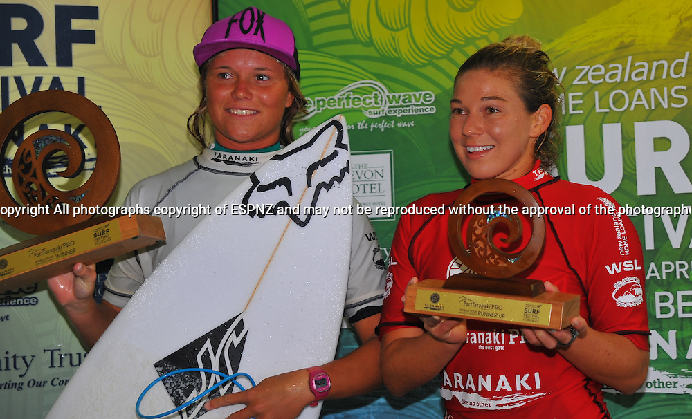 Winner Keely Andrew ( Aust) and Coco Ho ( Haw) runner up with their trophies at the PORT TARANAKI PRO WSL WOMENS 6 star Qualifying series Featuring the worlds highest ranked surfers including many of the World Tours top 17.<br /> This is stop number three of the 2015 WSL Women's 6-Star Qualifying Series competitions where the best in the world battle it out, gaining points towards securing one of six coveted spaces on the WSL World Championship Tour for the following year.<br />  <br /> Photo John Velvin/ESPNZ