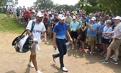 August 12, 2018 - St. Louis, Missouri, U.S. - ST. LOUIS, MO - AUGUST 12: Jordan Spieth is greeted by fans as he walks to the #2 tee during the final round of the PGA Championship on August 12, 2018, at Bellerive Country Club, St. Louis, MO.  (Photo by Keith Gillett/Icon Sportswire) (Credit Image: © Keith Gillett/Icon SMI via ZUMA Press)