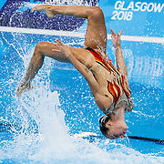 Manila Flamini (pictured) and Giorgio Minisini of Italy competing in the Duet Free Routine Mixed- Final at the Glasgow 2018 European Synchronised Swimming Championships, Glasgow, Britain, 7th August 2018.