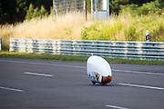 Lieske Yntema tijdens haar eerste recordpoging. Het Human Power Team Delft en Amsterdam (HPT), dat bestaat uit studenten van de TU Delft en de VU Amsterdam, is in Senftenberg voor een poging het laagland sprintrecord te verbreken op de Dekrabaan. In september wil het HPT daarna een poging doen het wereldrecord snelfietsen te verbreken, dat nu op 133 km/h staat tijdens de World Human Powered Speed Challenge.<br /> <br /> Lieske Yntema at her first record attempt. With the special recumbent bike the Human Power Team Delft and Amsterdam, consisting of students of the TU Delft and the VU Amsterdam, is in Senftenberg (Germany) for the attempt to set a new lowland sprint record on a bicycle. They also wants to set a new world record cycling in September at the World Human Powered Speed Challenge. The current speed record is 133 km/h.