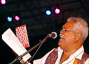 Cafe founder Miguel Algarin performs as the Nuyorican Poets Cafe celebrates anniversary at Central Park SummerStage on June 24, 2004.