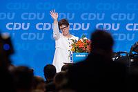 26 FEB 2018, BERLIN/GERMANY:<br /> Annegret Kramp-Karrenbauer, CDU Generalsekretaerin, winkt den Delegierten nach ihrer Wahl, CDU Bundesparteitag, Station Berlin<br /> IMAGE: 20180226-01-169<br /> KEYWORDS: Party Congress, Parteitag, Blumen, flowers