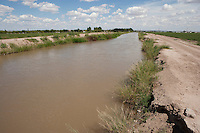 Irrigation canals and gates near Socorro, Texas