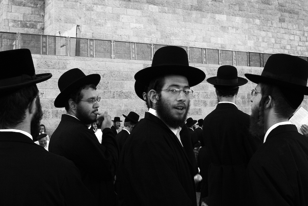 Orthodox Jews at the Western Wall in Jerusalem, during an Israeli army passing out ceremony.
