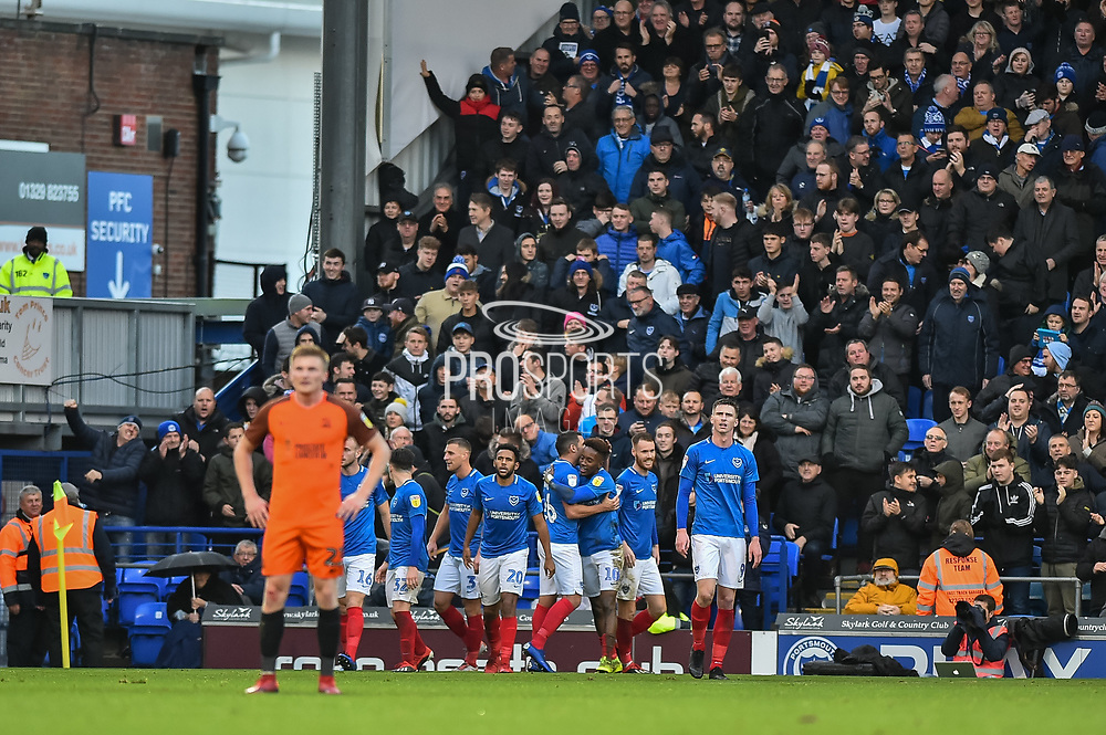 Portsmouth Players Celebrate after Portsmouth Midfielder, Jamal Lowe (10) scores a goal to make it 2-0 during the EFL Sky Bet League 1 match between Portsmouth and Southend United at Fratton Park, Portsmouth, England on 8 December 2018.
