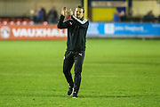 Forest Green Rovers manager, Mark Cooper applauds the supporters at the end of the game during the Vanarama National League match between Solihull Moors and Forest Green Rovers at the Automated Technology Group Stadium, Solihull, United Kingdom on 25 October 2016. Photo by Shane Healey.