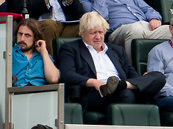 © Licensed to London News Pictures. 08/09/2018. London, UK. Former foreign secretary BORIS JOHNSON (right) is seen with his son MILO (left) watching an England test match against India at The Oval cricket ground in London. It was announced yesterday that Mr Johnson is to divorce his wife of 25 years, Marina Wheeler. Photo credit: Ben Cawthra/LNP