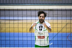 Plesec Vasja of Panvita Pomgrad reacts during volleyball match between Panvita Pomgrad and Šoštanj Topolšica of 1. DOL Slovenian National Championship 2019/20, on December 14, 2019 in Osnovna šola I, Murska Sobota, Slovenia. Photo by Blaž Weindorfer / Sportida