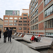 Views from The High Line, Manhattan, New York. The High Line is a 1-mile New York City linear park built on a 1.45-mile section of the former elevated New York Central Railroad spur called the West Side Line, which runs along the lower west side of Manhattan; it has been redesigned and planted as an aerial greenway. New York, USA.  Photo Tim Clayton