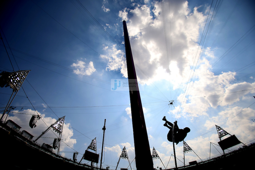 Damian Warner of Canada competes in the high jump portion of the decathlon during track and field at the Olympic Stadium during day 13 of the London Olympic Games in London, England, United Kingdom on August 9, 2012..(Jed Jacobsohn/for The New York Times)..