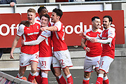Rotherham United player Michael Smith (24) celebrates scoring goal with Rotherham united players to go 1-1 during the EFL Sky Bet League 1 match between Rotherham United and Doncaster Rovers at the AESSEAL New York Stadium, Rotherham, England on 24 February 2018. Picture by Ian Lyall.