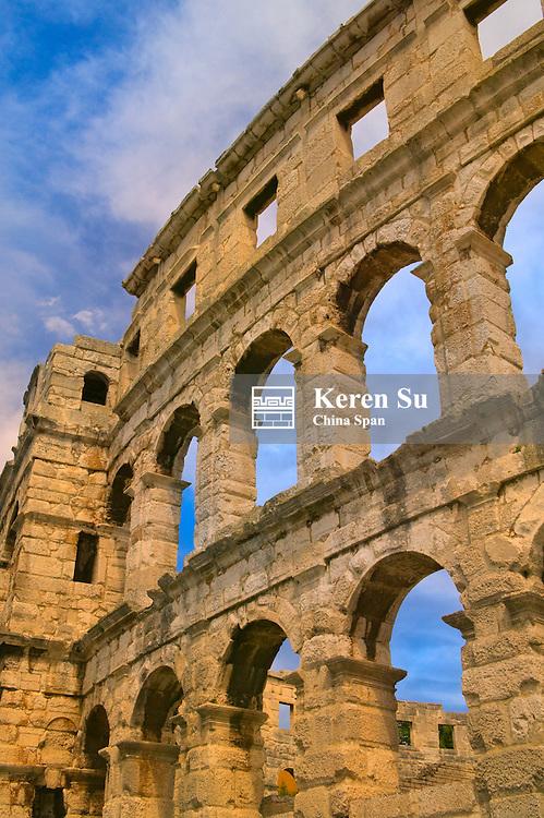 Ruins of 1st century Roman Amphitheatre, Pula, Istria, Croatia