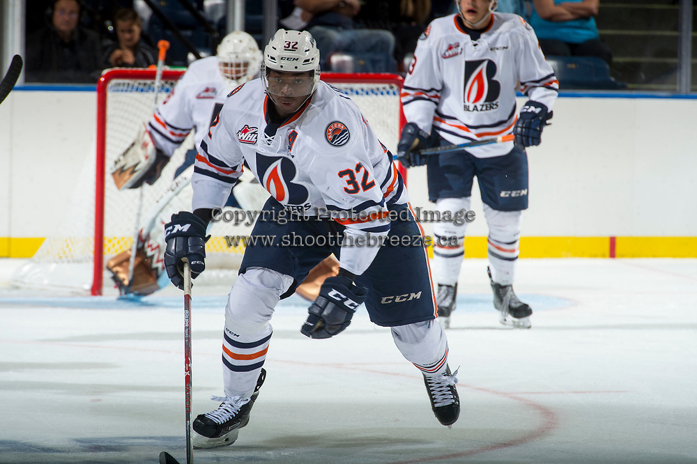 KELOWNA, CANADA - SEPTEMBER 5: Jermaine Loewen #32 of the Kamloops Blazers skates against the Kelowna Rockets on September 5, 2017 at Prospera Place in Kelowna, British Columbia, Canada.  (Photo by Marissa Baecker/Shoot the Breeze)  *** Local Caption ***