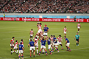 General view during the Japan 2019 Rugby World Cup Pool A match between Japan and Russia at the Tokyo Stadium in Tokyo on September 20, 2019.