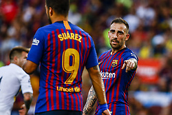 August 15, 2018 - Barcelona, Spain - Paco Alcacer from Spain and Luis Suarez from Uruguay during the Joan Gamper trophy game between FC Barcelona and CA Boca Juniors in Camp Nou Stadium at Barcelona, on 15 of August of 2018, Spain. (Credit Image: © Xavier Bonilla/NurPhoto via ZUMA Press)
