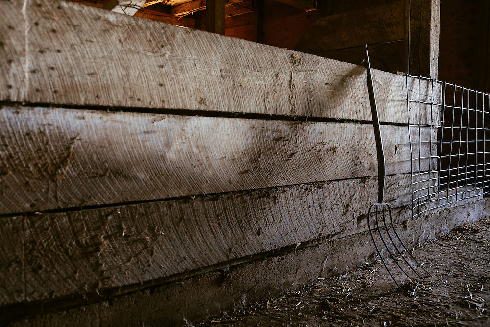 Inside of the barn.<br /> Photographed by editorial lifestyle photographer Nathan Lindstrom
