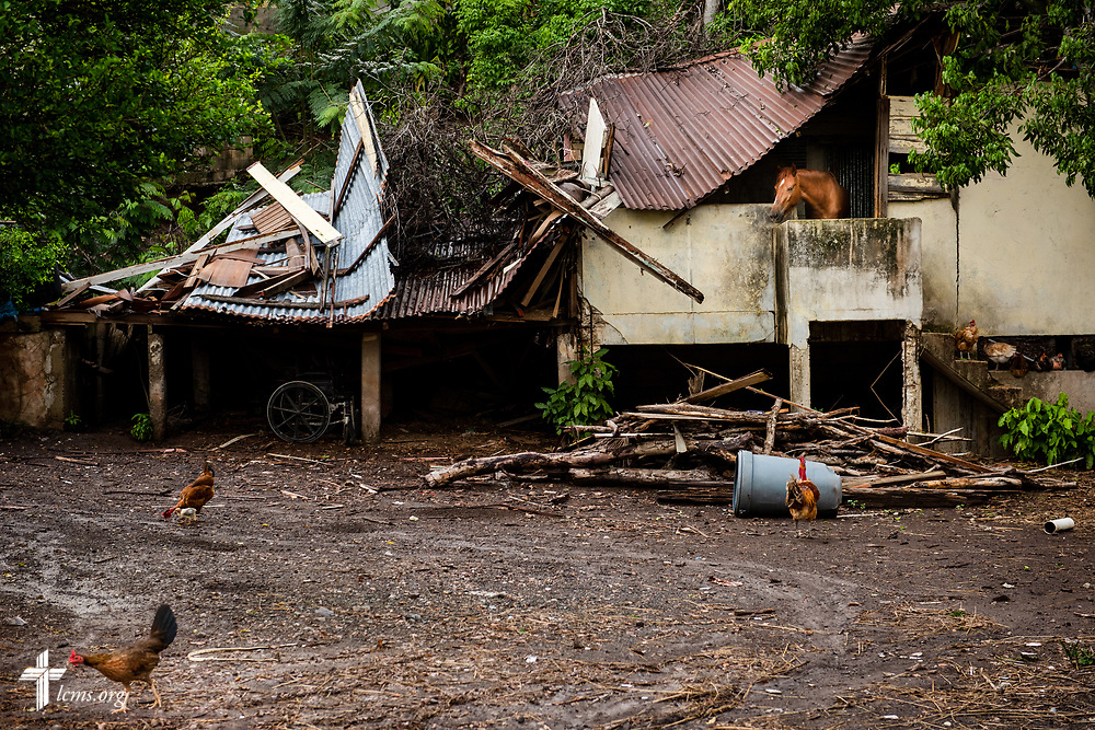 Damage from Hurricane Maria still lingers at a collapsed home on Tuesday, April 17, 2018 in Mayagüez, Puerto Rico. LCMS Communications/Erik M. Lunsford