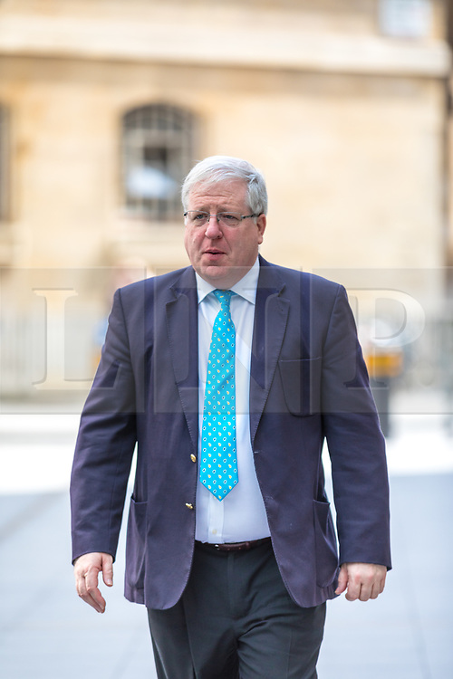 © Licensed to London News Pictures. 23/04/2017. London, UK. Chairman of the Conservative Party Patrick McLoughlin arrives at Broadcasting House before appearing on Sunday Politics. McLoughlin is reported to have said that Jeremy Corbyn, Leader of the Labour Party, 'is not suitable to become prime minister of this country' in the upcoming 8 June General Election. Photo credit: Rob Pinney/LNP