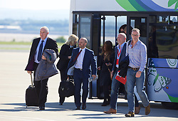LIVERPOOL, ENGLAND - Monday, May 16, 2016: Guests board the Liverpool team plane to Basel as they fly out of Liverpool John Lennon Airport to Switzerland ahead of the UEFA Europa League Final against Sevilla FC. (Pic by David Rawcliffe/Propaganda)