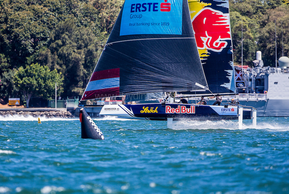 The Extreme Sailing Series 2016. Red Bull Sailing Team:Roman Hagara, Hans-Peter Steinacher, Stewart Dodson, Adam Piggott, Brad Farrand  .Act 8.Sydney,Australia. 8th-11th December 2016. Credit - Jesus Renedo/Lloyd Images