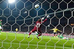 14.10.2011, Weser Stadion, Bremen, GER, 1.FBL, Werder Bremen vs Borussia Dortmund, im Bild.0:1  durch Ivan Perisic (Dortmund #14) gegen Sebastian Mielitz (Bremen #21) und Sokratis (Bremen #22).// during the Match GER, 1.FBL, Werder Bremen vs Borussia Dortmund on 2011/10/14,  Weser Stadion, Bremen, Germany..EXPA Pictures © 2011, PhotoCredit: EXPA/ nph/  Kokenge       ****** out of GER / CRO  / BEL ******