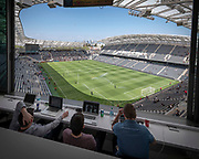A view from the LAFC press box of the at the Banc of California Stadium before an MLS soccer match against the Seattle Sounders in Los Angeles, Sunday, April 21, 2019. LAFC defeated the Sounders 4-1. (Ed Ruvalcaba/Image of Sport)