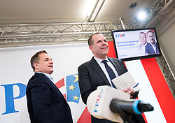 26.02.2019, FPÖ-Medienzentrum, Wien, AUT, FPÖ, Pressekonferenz mit Präsentation der Kandidatenliste zur EU-Wahl. im Bild Mitglied des EuropaparlamentsFPÖ Georg Mayer and Mitglied des Europaparlaments und Generalsekretär FPÖ Harald Vilimsky // MEP Georg Mayer (Europe of Nations and Freedom Group) and MEP Harald Vilimsky (Europe of Nations and Freedom Group) during media conference of the Austrian Freedom Party a presentation of the canidates for EU elections in Vienna, Austria on 2019/02/26. EXPA Pictures © 2019 PhotoCredit: EXPA/ Michael Gruber