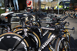 Boels-Dolmans Cycling Team time trial bikes are ready for Stage 1a of the Healthy Ageing Tour - a 16.9 km time trial, starting and finishing in Leek on April 5, 2017, in Groeningen, Netherlands.