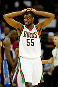 Jan. 21, 2011; Cleveland, OH, USA; Milwaukee Bucks guard Keyon Dooling (55) looks to his teammates after a foul call during the fourth quarter against the Cleveland Cavaliers at Quicken Loans Arena. The Bucks beat the Cavaliers 102-88. Mandatory Credit: Jason Miller-US PRESSWIRE
