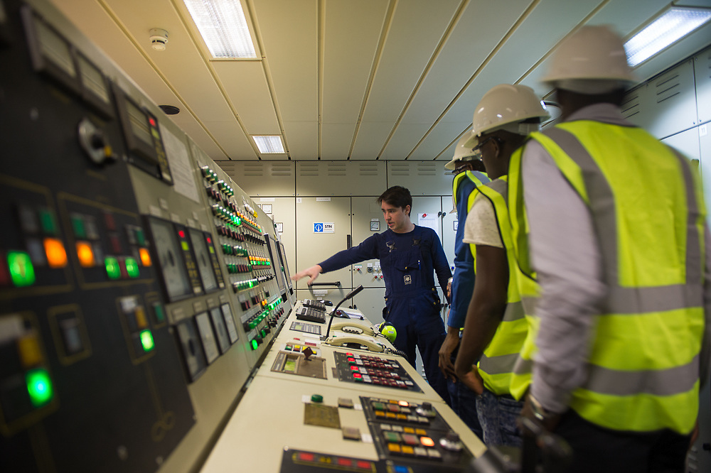 Training on the Maersk Attender in the engine control room
