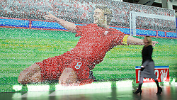 LIVERPOOL, ENGLAND - Tuesday, May 19, 2015: A giant mosaic of Steven Gerrard awaits the attendees on the red carpet for the Liverpool FC Players' Awards Dinner 2015 at the Liverpool Arena. (Pic by David Rawcliffe/Propaganda)