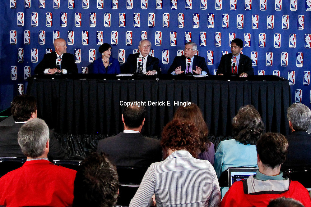 April 16, 2012; New Orleans, LA, USA; New Orleans mayor Mitch Landrieu,  Gayle Benson, New Orleans Hornets and Saints owner Tom Benson, NBA commissioner David Stern,and Louisiana governor Bobby Jindal at press conference announcing ownership to the Benson's and the awarding of the 2014 All Star game to the city of New Orleans at the New Orleans Arena.   Mandatory Credit: Derick E. Hingle-US PRESSWIRE