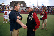 SHOT 5/11/13 7:44:12 PM - University of Denver head lacrosse coach Bill Tierney (right) talks with University at Albany head lacrosse coach Scott Marr after their first round NCAA Tournament lacrosse game at the Peter Barton Lacrosse Stadium on the University of Denver campus Saturday May 11, 2013. The University of Denver won the game 19-14 to advance. (Photo by Marc Piscotty / © 2013)
