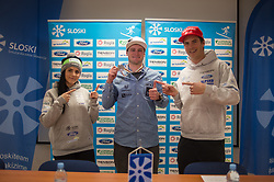 Tim Mastnak of Slovenia, silver medalist at Giant Slalom Snowboard World Championships in Utah, USA posing with Gloria Kotnik (L) and Zan Kosir (R) during press conference after arrival in Ljubljana, Slovenia, on February 11, 2019. Photo by Anze Petkovsek / Sportida