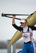 Caversham, United Kingdom. Zeo LEE, carries her singl of the boating dock at the 2015 GBRowing Team, December Trials at the Training Base Nr Reading.<br /> <br /> Saturday  19/12/2015<br /> <br /> [Mandatory Credit; Peter SPURRIER/ntersport Images] [Mandatory Credit; Peter SPURRIER/Intersport Images]