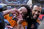 Wolverhampton Wanderers players celebrate the title win during the EFL Sky Bet Championship match between Wolverhampton Wanderers and Sheffield Wednesday at Molineux, Wolverhampton, England on 29 April 2018. Picture by Alan Franklin.