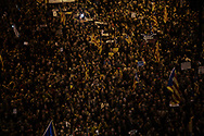 Independentists rally thousands in Barcelona in support of their former leadership sent to jail by Spanish court following the Catalan Parliament proclamation of independence. November 11, 2017 in Barcelona, Spain.