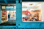 The Huawei showroom on the Promenade sits empty during the World Economic Forum in Davos. The Chinese telecommunication company faced heavy critisism for their 5 G roll-out, as Chinese government are forcing all chinese owned companies to share all obtained information with the authorities