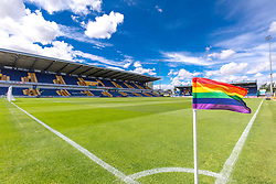 A  rainbow corner flag and general view of the One Call Stadium, home to Mansfield Town - Mandatory by-line: Ryan Crockett/JMP - 28/07/2018 - FOOTBALL - One Call Stadium - Mansfield, England - Mansfield Town v Rotherham United - Pre-season friendly
