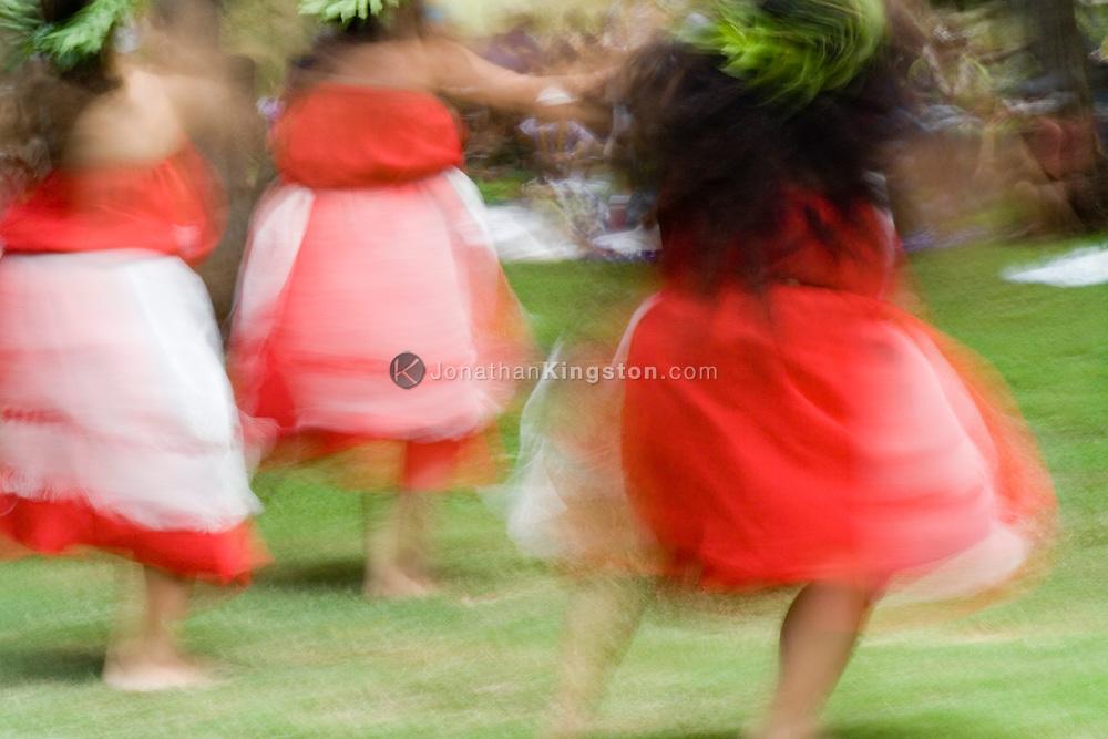 MOLOKAI, HI - Hula dancers perform at Ka Hula Piko, a festival celebrating the birth of the hula on Molokai, Hawaii. Ka Hula Piko began in 1991, and was founded by Kumu Hula John Ka'imikaua, Halau Hula O Kukunaokala and the Moloka'i Community. Molokai is widely held to be the birthplace of the hula.