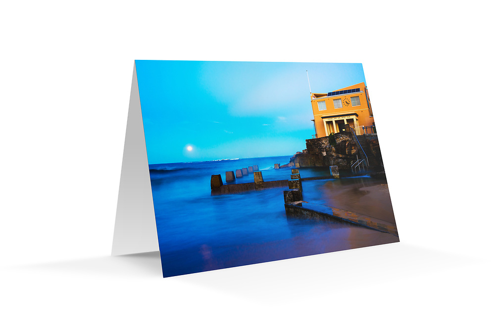 "Photo Art Greeting Card - Sydney Coastal Collection (Coogee SLSC). Printed in Sydney on quality matte card stock, 174 x 123mm, blank inside, envelope included, packaged in sealed poly bag. Click ""Add to Cart"" to choose your own mix of 5, 10, or 20 cards from this collection."
