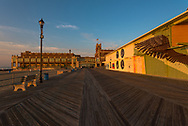 Asbury Park, NJ, USA -- July 21, 2017--Looking  east at Convention Hall on the Asbury Park boardwalk in the early morning light. Editorial Use Only