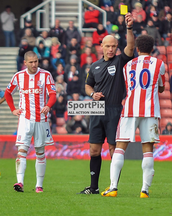 Shotton getting yellow card Stoke City v Man City FA Cup Britania 29 January 2013 (c) Dave Moore | StockPix.eu