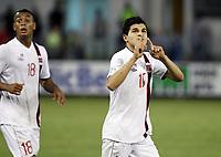 Fotball<br /> VM-kvalifisering<br /> 16.10.2012<br /> Kypros v Norge 1:3<br /> Foto: Savvides/Digitalsport<br /> NORWAY ONLY<br /> <br /> Joshua King (L) og Tarik Elyounoussi feirer 2:1 til Norge