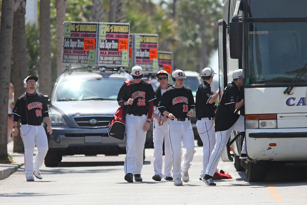 METRO -- Andrew Knapp/STAFF -- April 12, 2012 -- Members of the Chardon High School (Ohio) baseball team leave The Palms Hotel on Thursday afternoon, two hours after a standoff ended there. The children, who endured a deadly shooting at their school in February, were staying on the third floor of the hotel, the same floor where the suspect was thought to be...A SWAT team leaves  The Palms Hotel in Isle of Palms after a standoff ended Thursday morning when deputies stormed a room and found it empty.