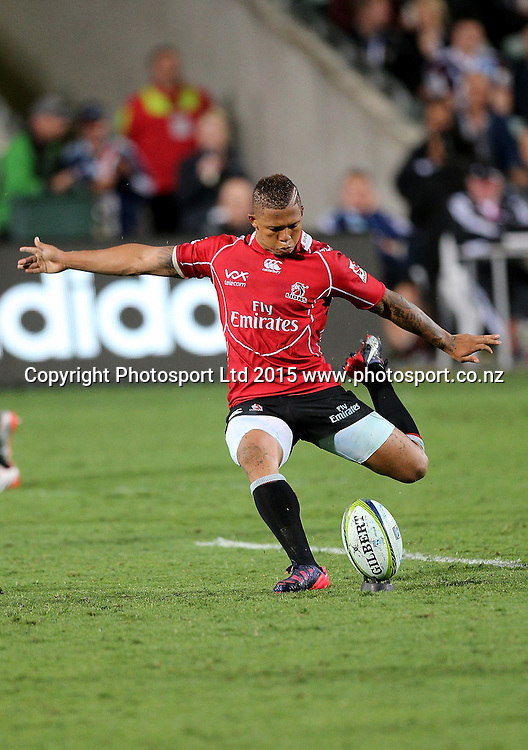 Lions` Elton Jantjies takes a penalty kick in the Super Rugby Match, Blues v Lions, QBE Stadium, Albany, Auckland, New Zealand, Saturday, March 07, 2015. Copyright photo: David Rowland/www.photosport.co.nz